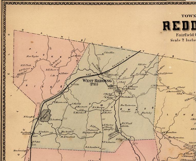 Beers 1867 Map Redding Connecticut